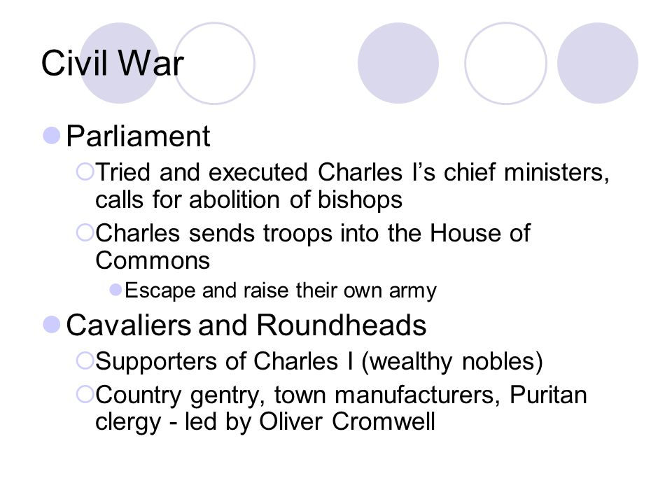 Civil War Parliament Cavaliers and Roundheads