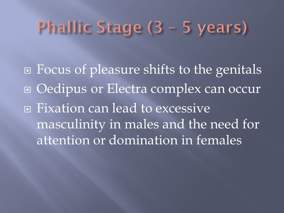 Phallic Stage (3 – 5 years)