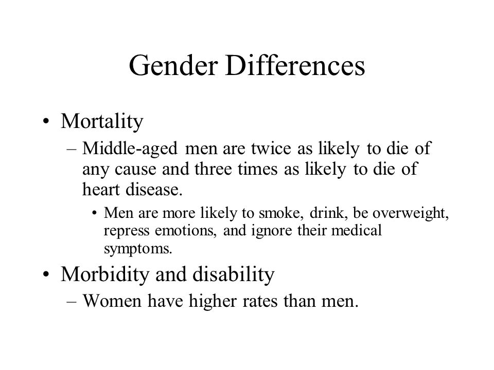 Gender Differences Mortality Morbidity and disability