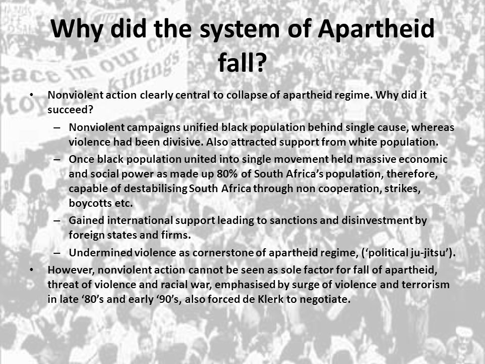 Why did the system of Apartheid fall