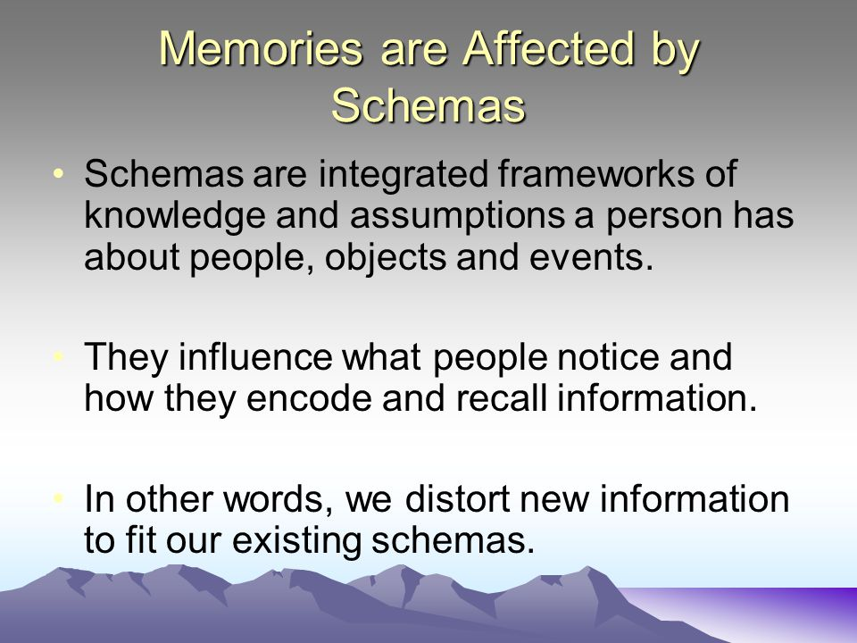 Memories are Affected by Schemas