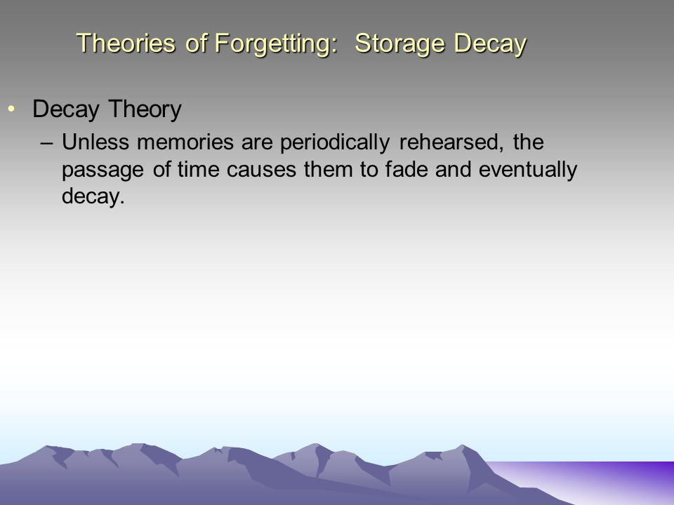 Theories of Forgetting: Storage Decay