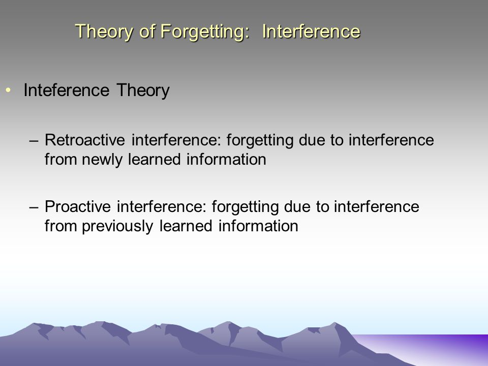 Theory of Forgetting: Interference