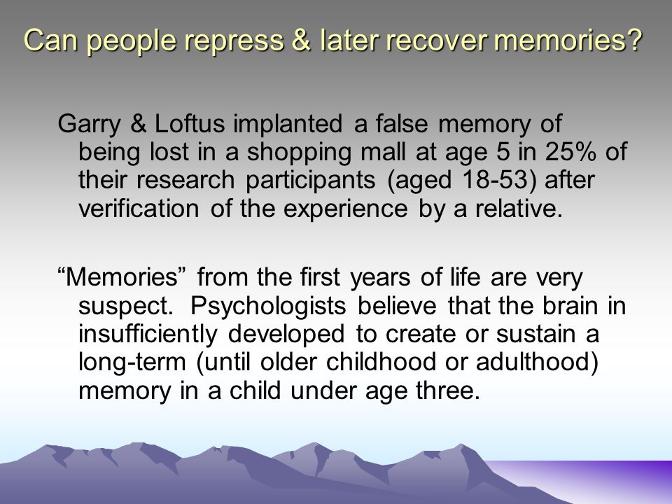 Can people repress & later recover memories