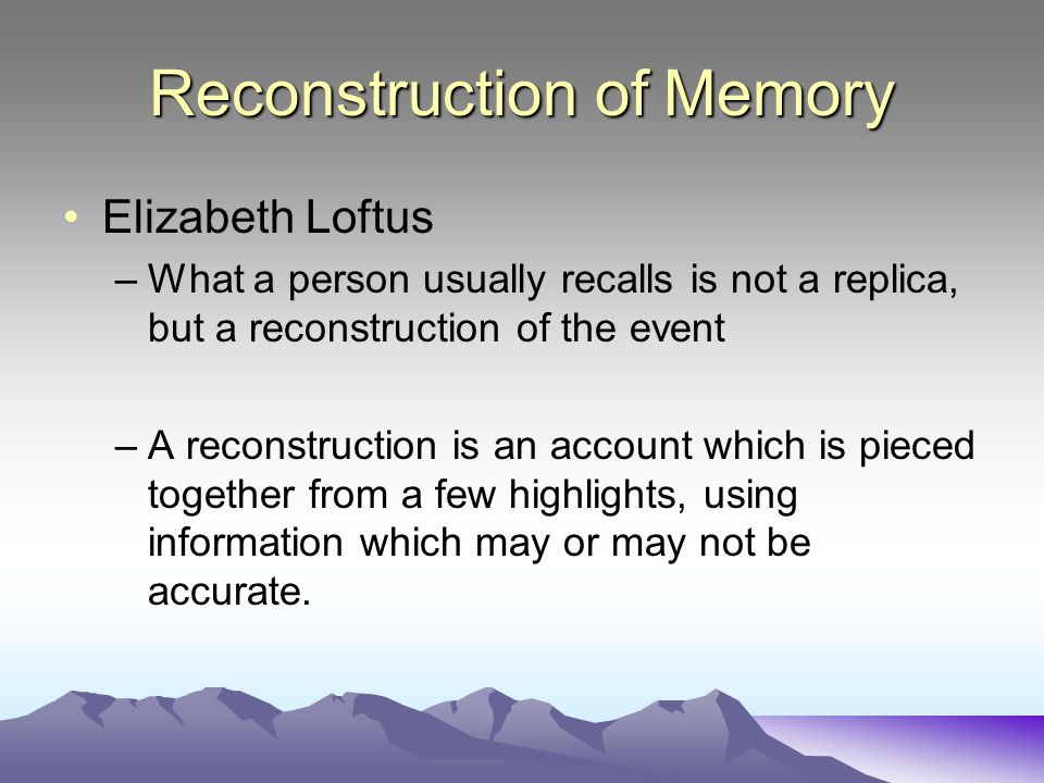 Reconstruction of Memory