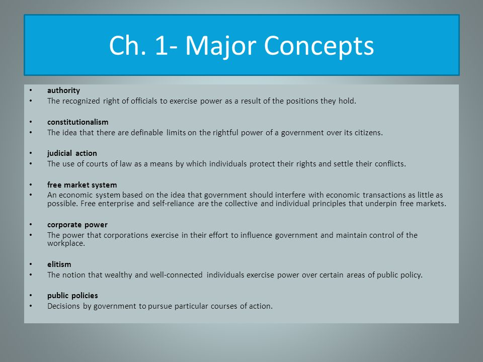 Ch. 1- Major Concepts authority