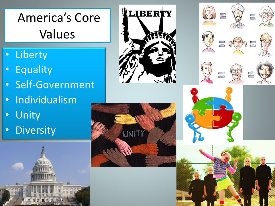 America's Core Values Liberty Equality Self-Government Individualism