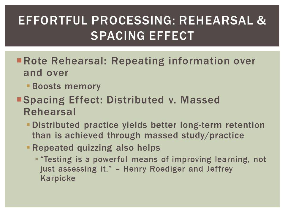 Effortful Processing: Rehearsal & Spacing Effect