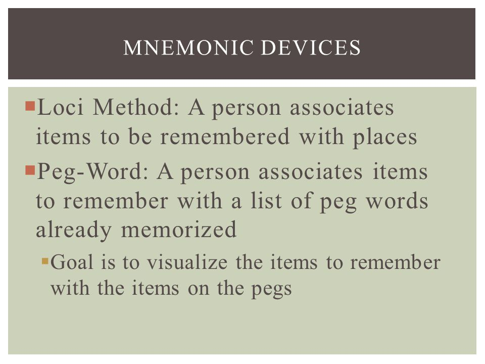 Loci Method: A person associates items to be remembered with places