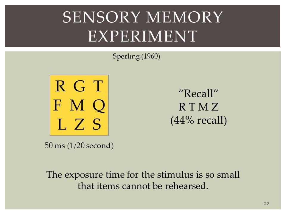 Sensory Memory Experiment