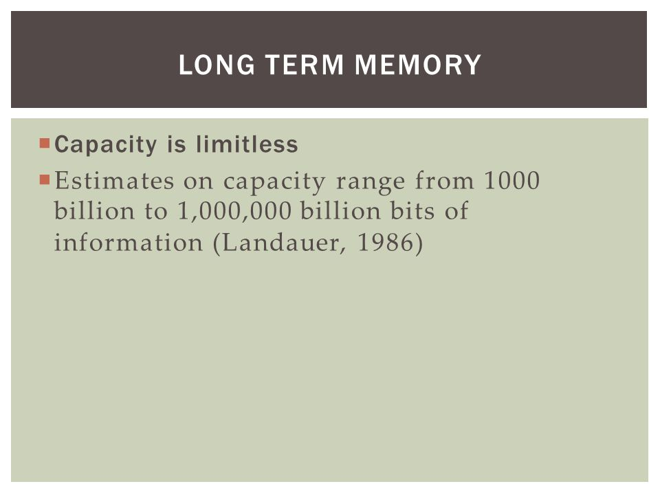 Long Term Memory Capacity is limitless