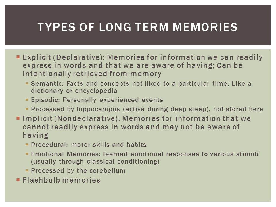 Types of Long term Memories
