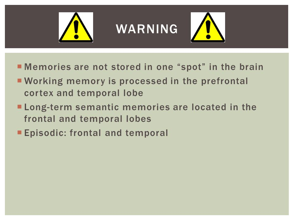 Warning Memories are not stored in one spot in the brain