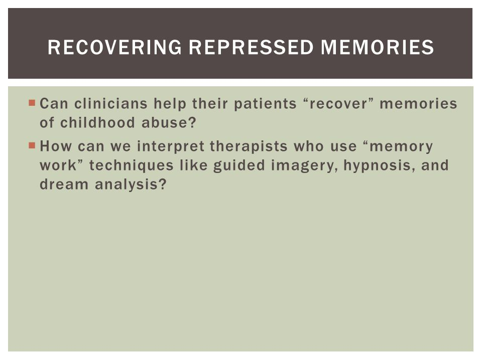 using hypnosis for repressed memory