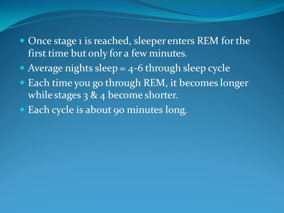 Once stage 1 is reached, sleeper enters REM for the first time but only for a few minutes.