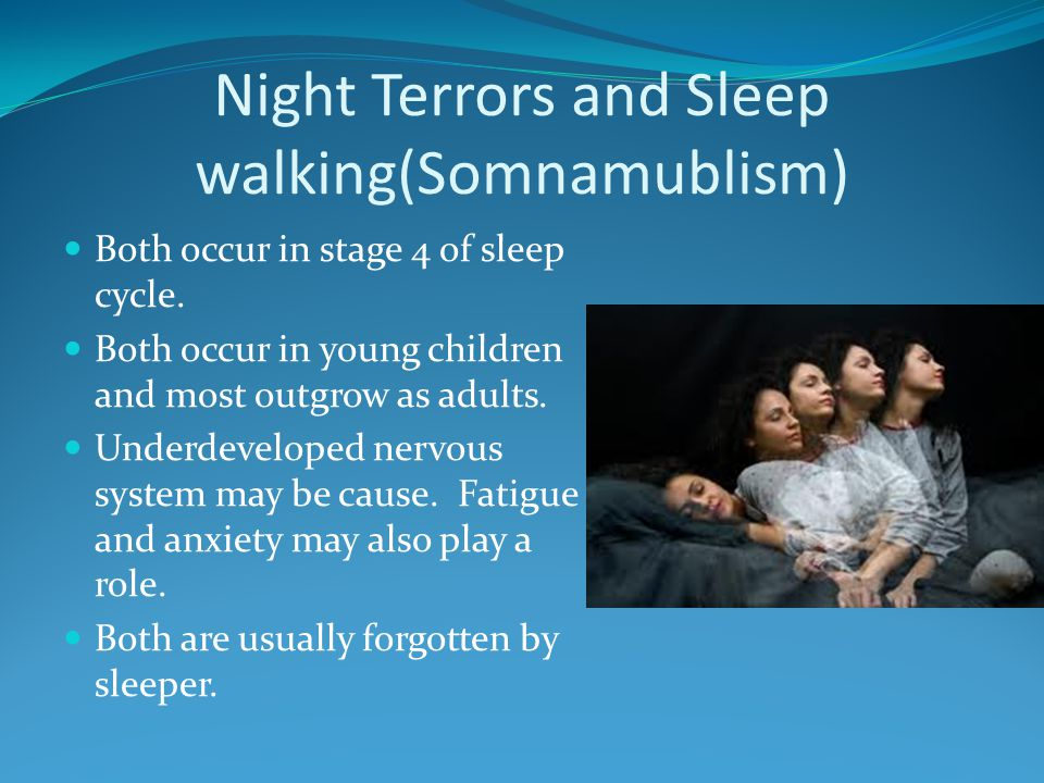 Night Terrors and Sleep walking(Somnamublism)
