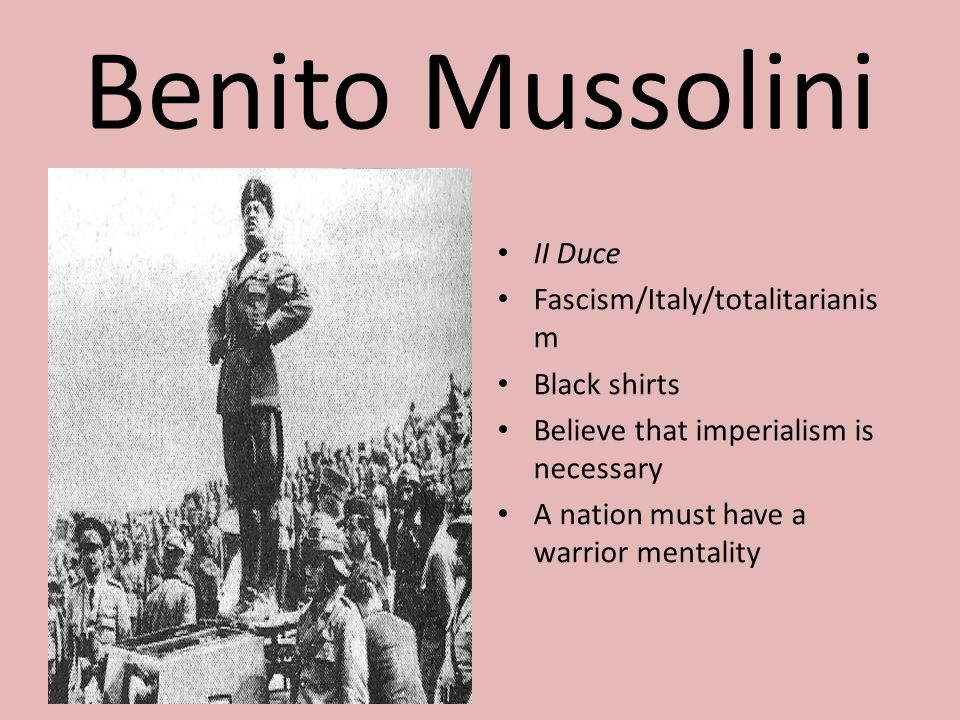 Benito Mussolini II Duce Fascism/Italy/totalitarianism Black shirts