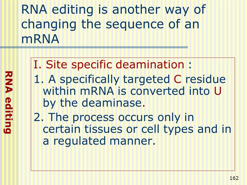 RNA editing is another way of changing the sequence of an mRNA