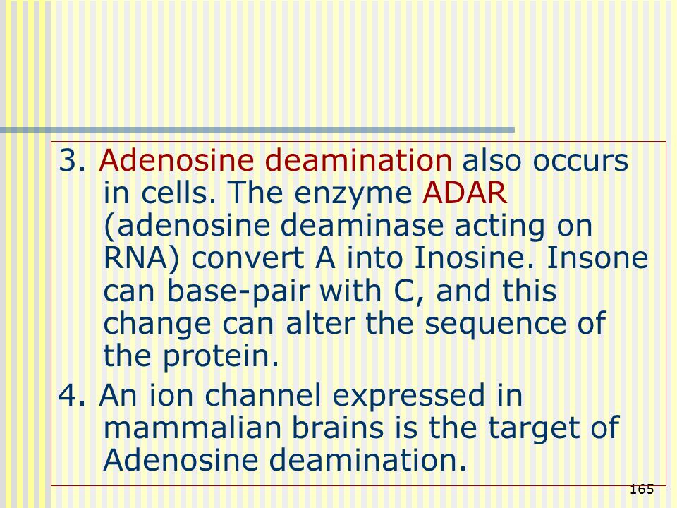 3. Adenosine deamination also occurs in cells