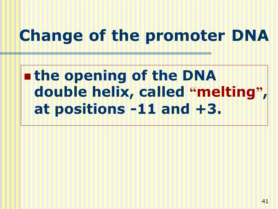 Change of the promoter DNA