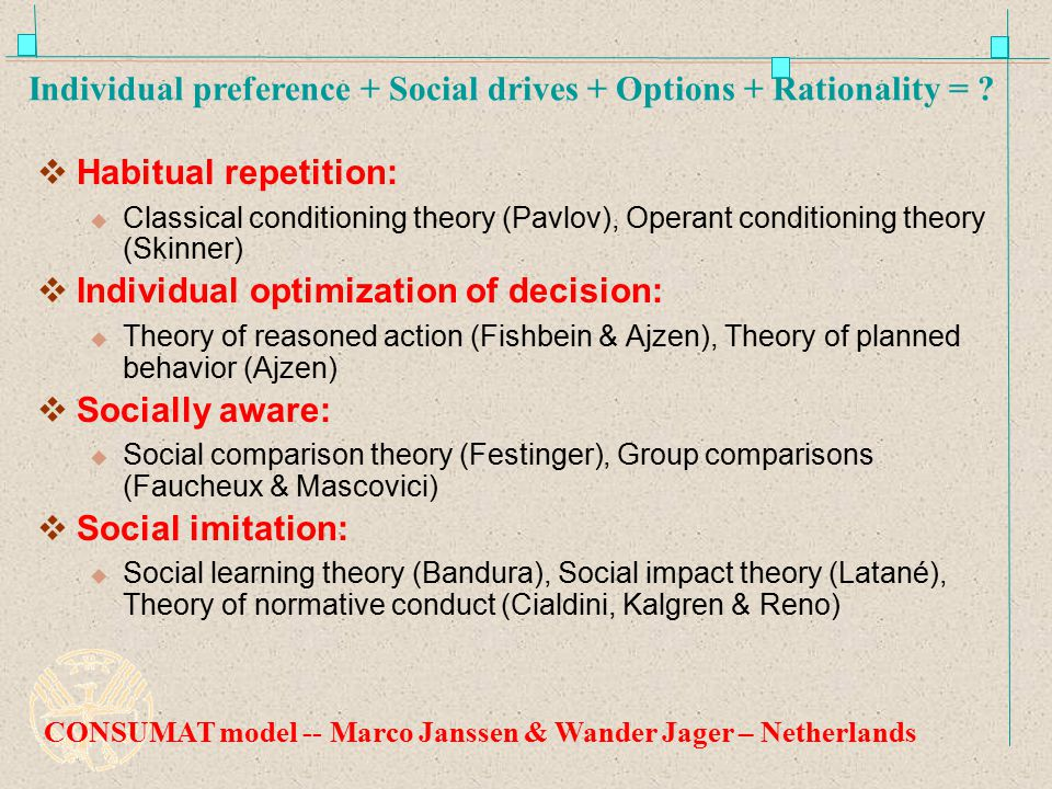 Individual preference + Social drives + Options + Rationality =