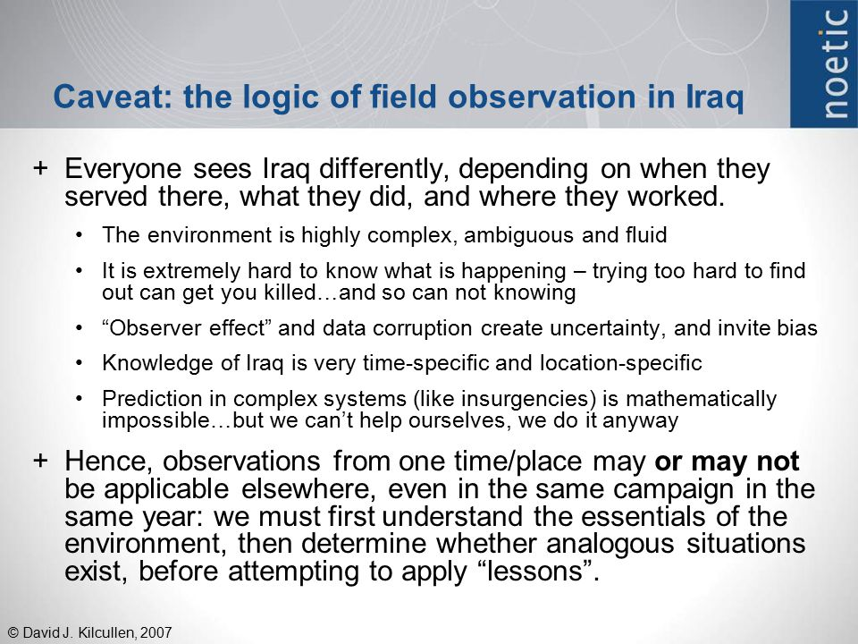 Caveat: the logic of field observation in Iraq