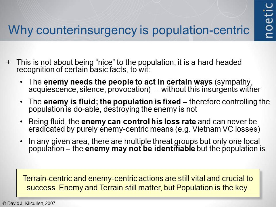 Why counterinsurgency is population-centric