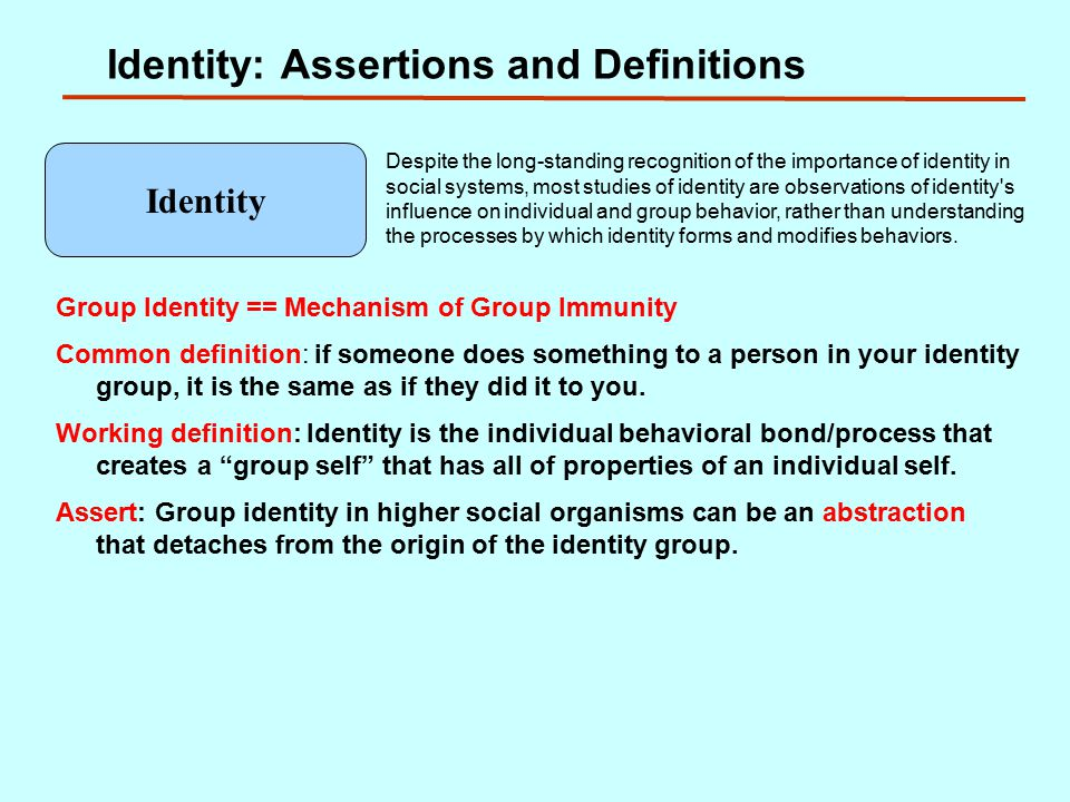 Identity: Assertions and Definitions