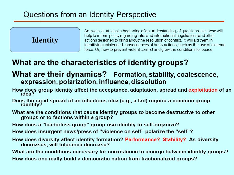 Questions from an Identity Perspective