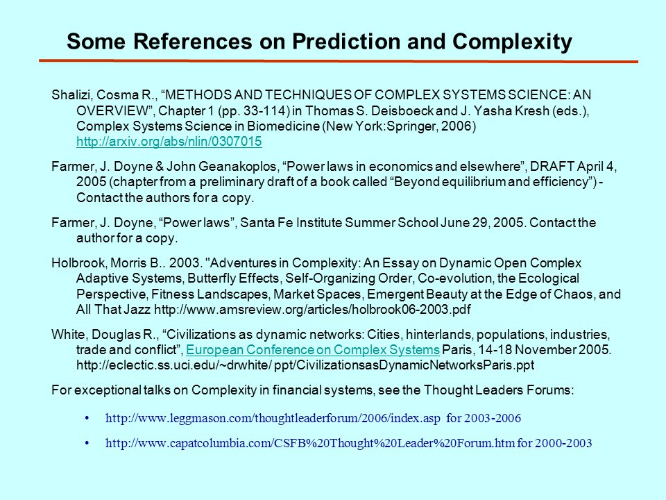 Some References on Prediction and Complexity