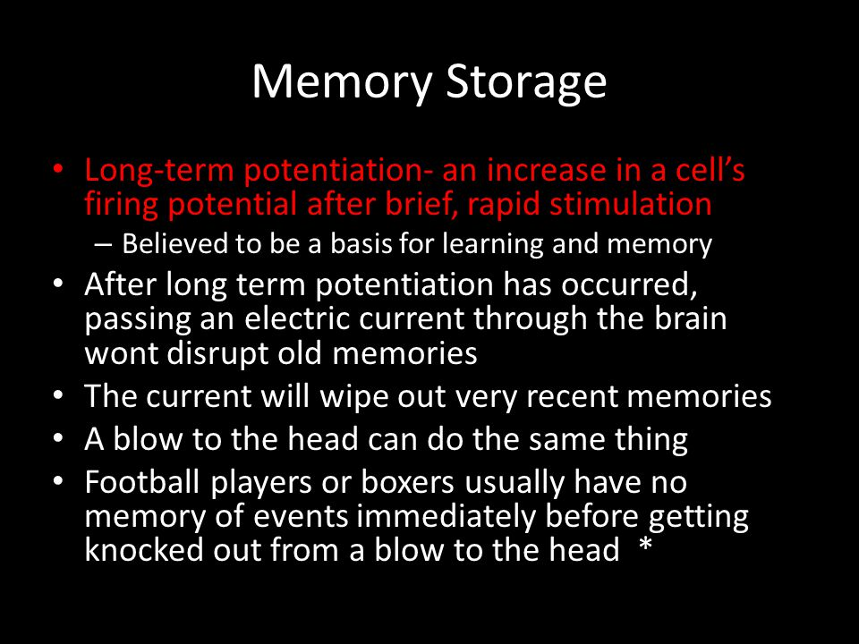 Memory Storage Long-term potentiation- an increase in a cell's firing potential after brief, rapid stimulation.