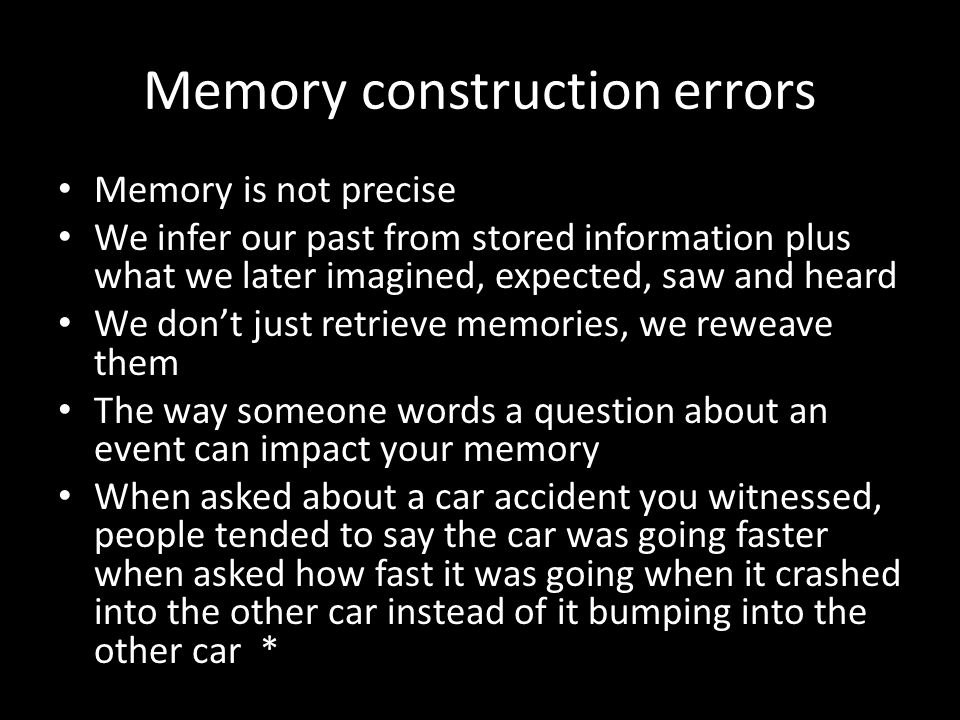Memory construction errors