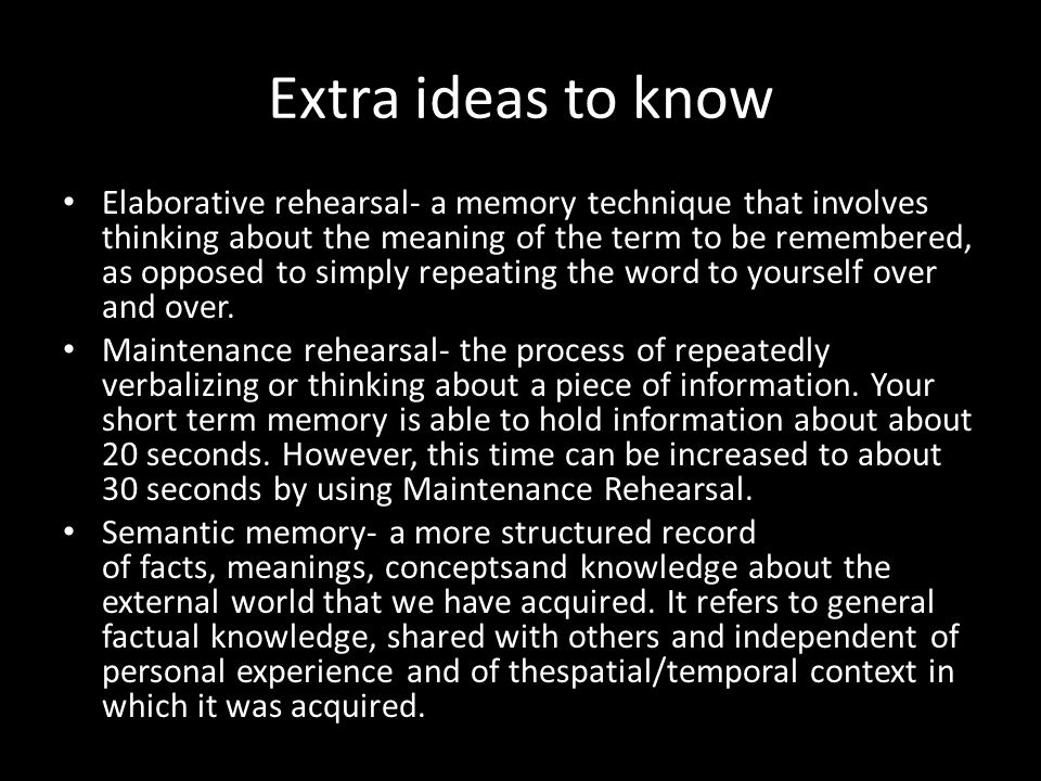 Extra ideas to know