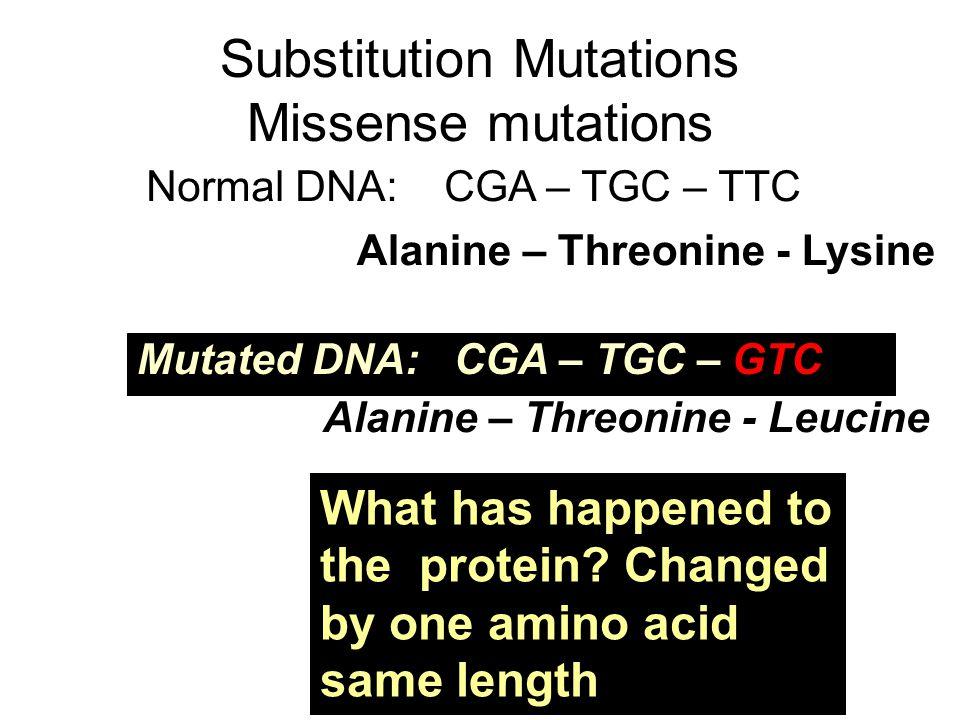 Substitution Mutations Missense mutations