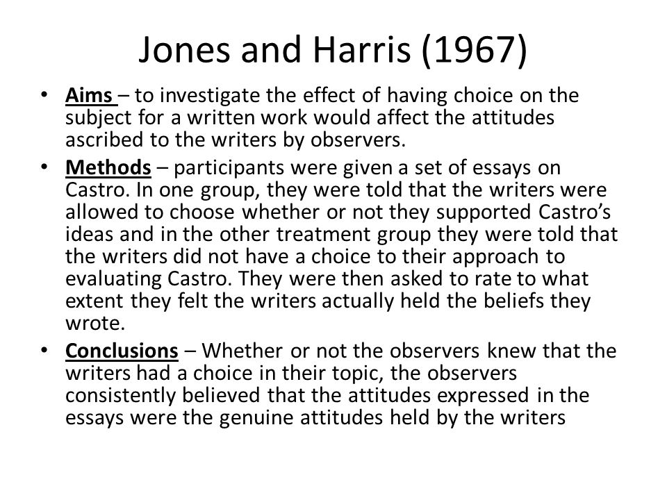Jones and Harris (1967)