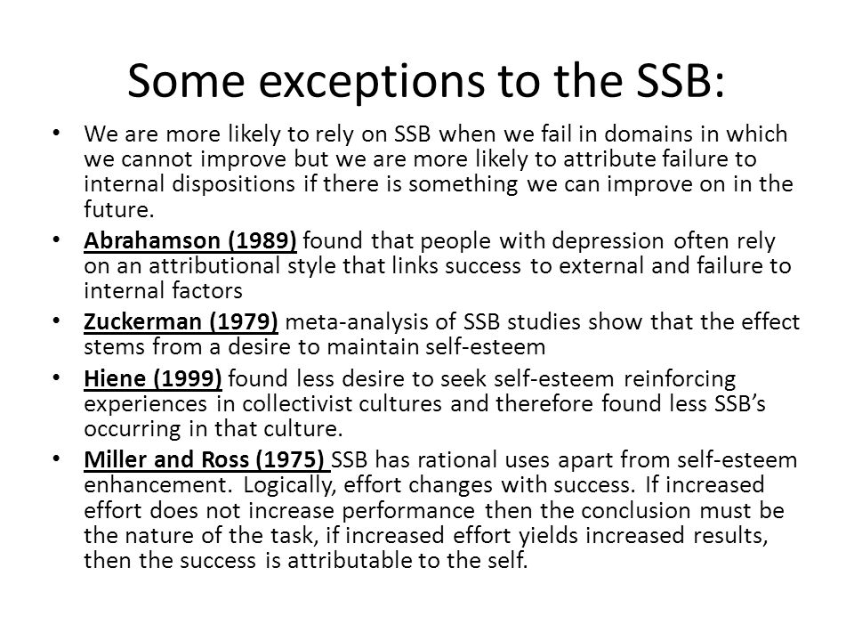 Some exceptions to the SSB: