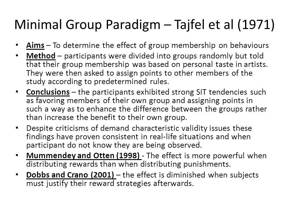 Minimal Group Paradigm – Tajfel et al (1971)