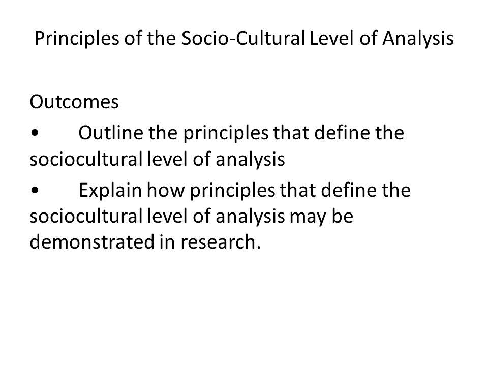 Principles of the Socio-Cultural Level of Analysis