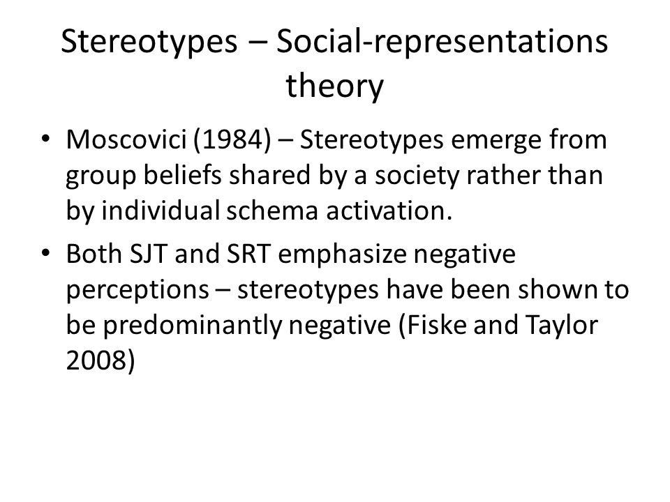 Stereotypes – Social-representations theory