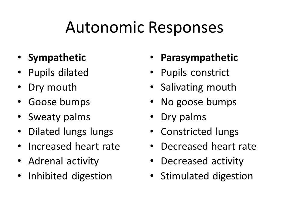 Autonomic Responses Sympathetic Pupils dilated Dry mouth Goose bumps