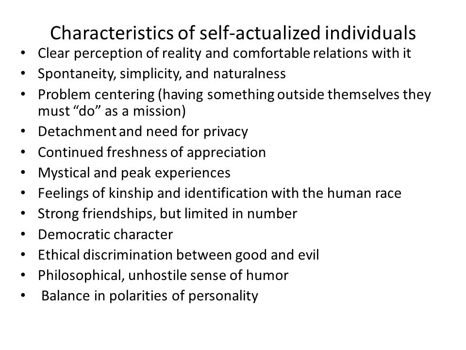 Characteristics of self-actualized individuals