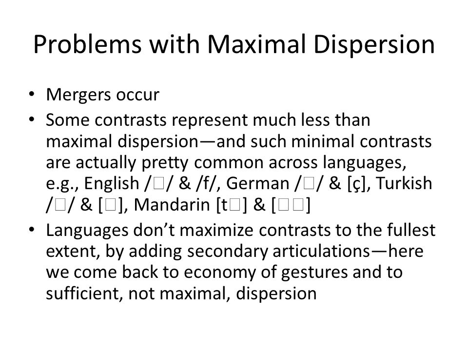 Problems with Maximal Dispersion
