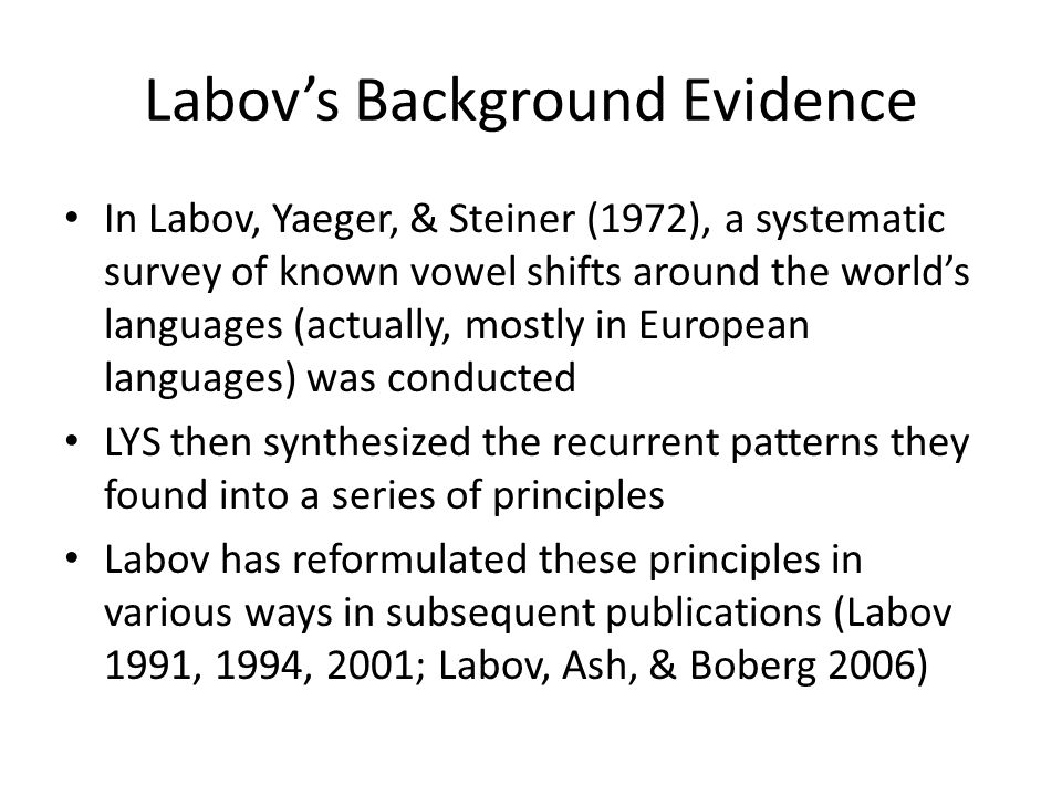 Labov's Background Evidence