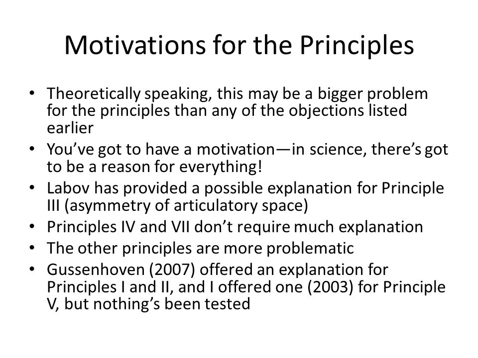 Motivations for the Principles