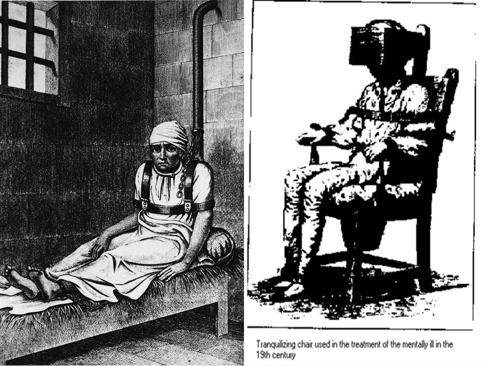 MENTALLY ILL PATIENTS HAD TO LIVE IN THESE BAD POSITIONS IN THE ASYLUMS.