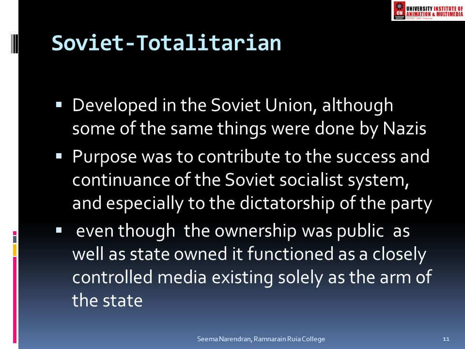 Soviet-Totalitarian Developed in the Soviet Union, although some of the same things were done by Nazis.