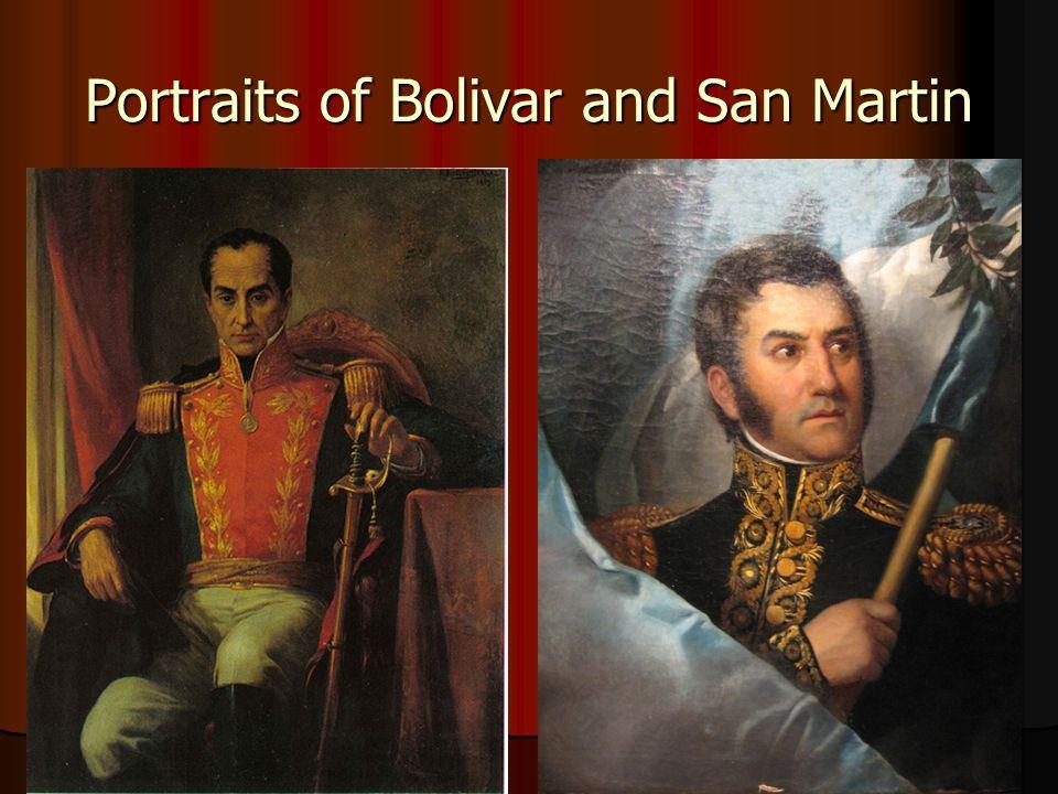 Portraits of Bolivar and San Martin