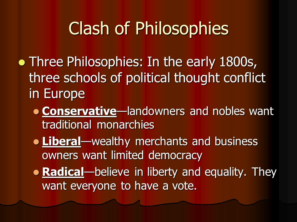 Clash of Philosophies Three Philosophies: In the early 1800s, three schools of political thought conflict in Europe.