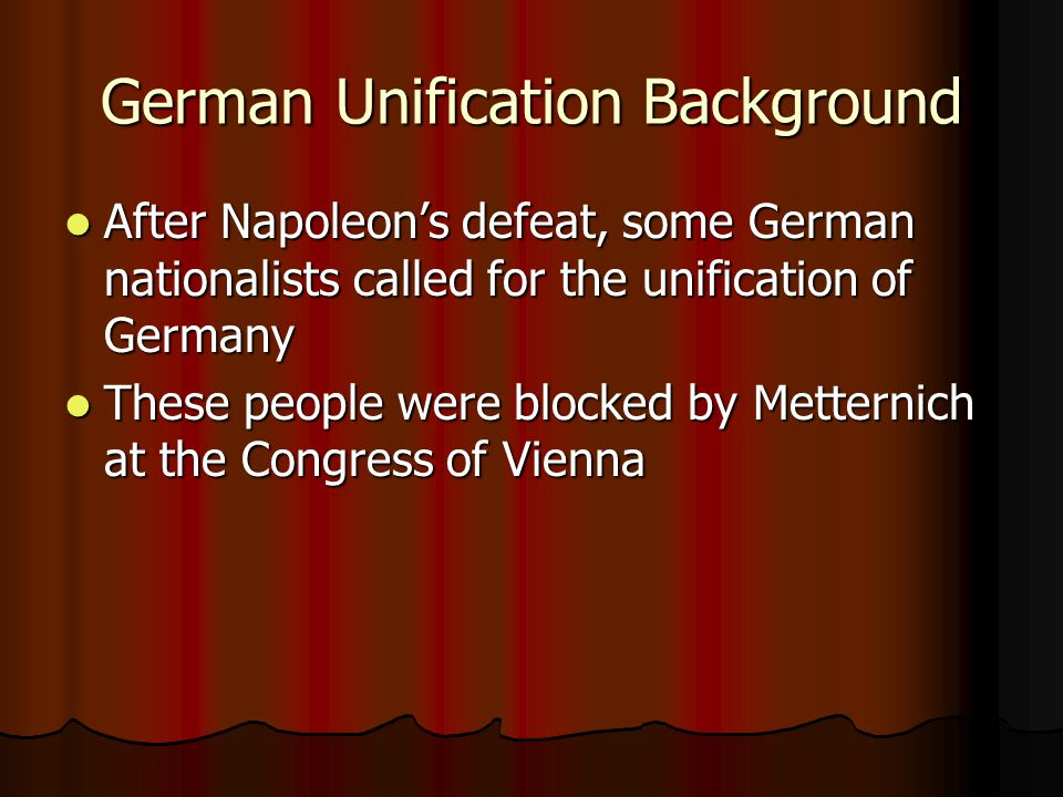 German Unification Background