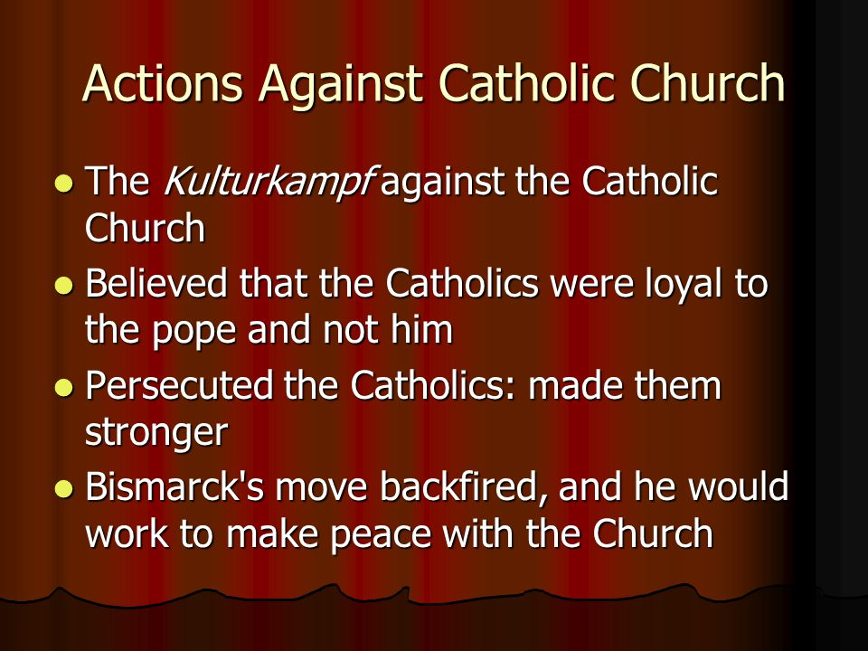 Actions Against Catholic Church
